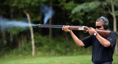 President Obama loves his guns - President Obama shooting a Browning Citori 725 shotgun - Of course Obama wants to take away OUR guns and keep HIS guns
